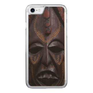 Tribal Wooden Carved Ritual African Mask Brown Red Carved iPhone 8/7 Case