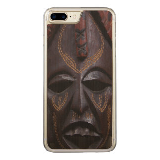 Tribal Wooden Carved Ritual African Mask Brown Red Carved iPhone 8 Plus/7 Plus Case