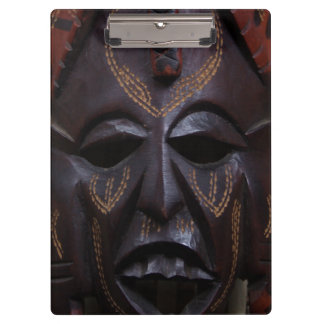 Tribal Wooden Carved Ritual African Mask Brown Red Clipboards
