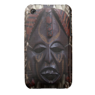 Tribal Wooden Carved Ritual African Mask Brown Red iPhone 3 Cover