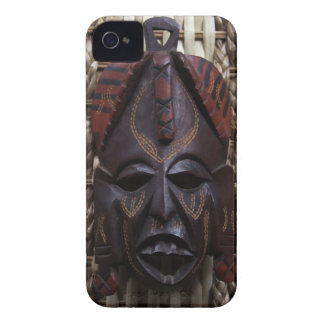 Tribal Wooden Carved Ritual African Mask Brown Red iPhone 4 Cover