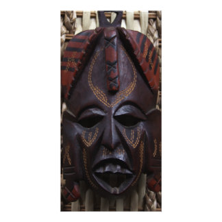 Tribal Wooden Carved Ritual African Mask Brown Red Photo Card Template
