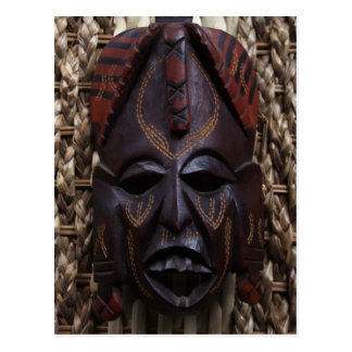 Tribal Wooden Carved Ritual African Mask Brown Red Postcard