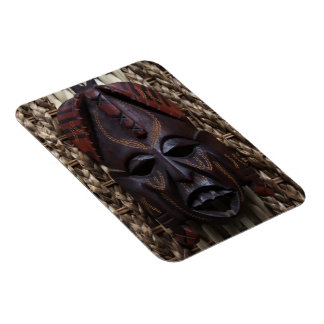 Tribal Wooden Carved Ritual African Mask Brown Red Rectangular Photo Magnet