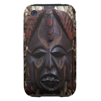 Tribal Wooden Carved Ritual African Mask Brown Red Tough iPhone 3 Cover