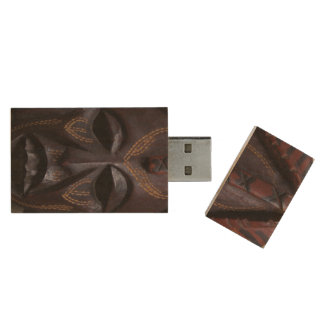 Tribal Wooden Carved Ritual African Mask Brown Red Wood USB 3.0 Flash Drive