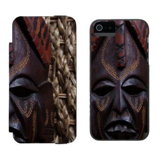 Tribal Wooden Carved Ritual African Mask Brown Red Incipio Watson™ iPhone 5 Wallet Case