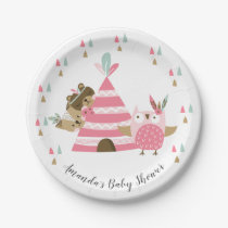 "Tribal Woodland Animals Baby Shower 7"" Plate"