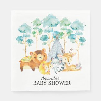 Tribal Woodland Animals Baby Shower Paper Napkins