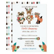 Tribal Woodland Animals Boho Baby Shower Invite
