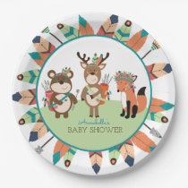 Tribal Woodland Animals Boho Feather Paper Plate