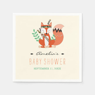 Tribal Woodland Fox Baby Shower Shower Napkins