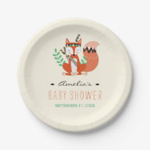 Tribal Woodland Fox Baby Shower Shower Paper Plate