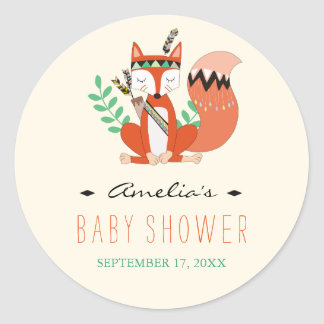 Tribal Woodland Fox Baby Shower Sticker