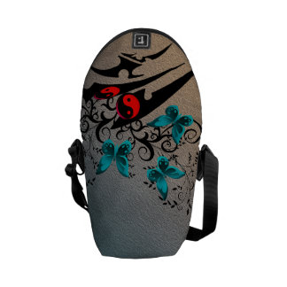 Tribal Yin Yang Butterflies,aqua Courier Bag