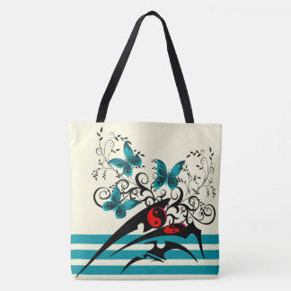 Tribal Yin Yang Butterflies,aqua Tote Bag