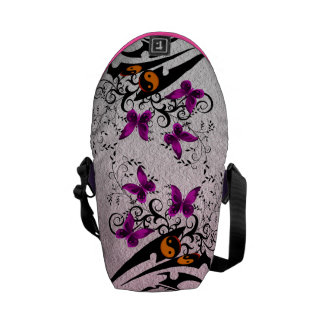 Tribal Yin Yang Butterflies,pink Messenger Bag