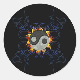 Tribal Ying Yang Classic Round Sticker