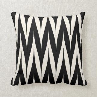 Tribal Zigzag Spike Pattern Black Throw Pillow