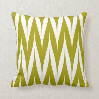 Tribal Zigzag Spike Pattern Chartreuse Green Throw Pillow