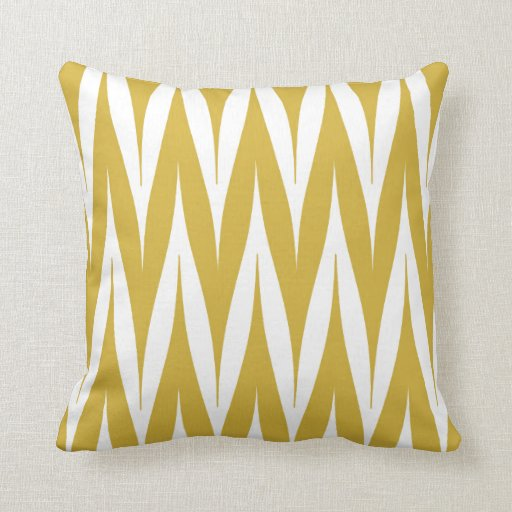 tribal zigzag spike pattern mustard yellow throw pillow. Black Bedroom Furniture Sets. Home Design Ideas