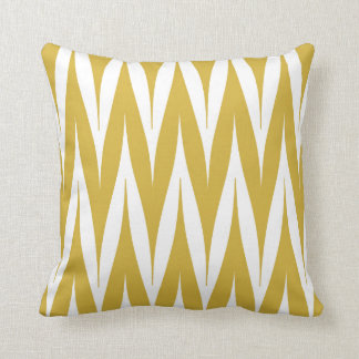 Tribal Zigzag Spike Pattern Mustard Yellow Throw Pillow