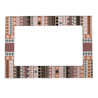 Tribal ZigZag Stripes Brown and Taupe Elegant Magnetic Picture Frame