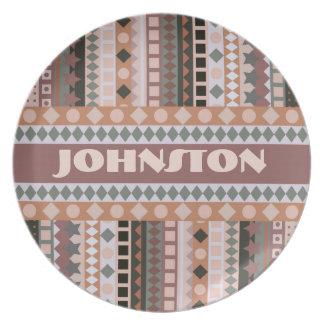 Tribal ZigZag Stripes Brown and Taupe Elegant Melamine Plate