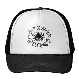 Tribal zodiac signs in a circle around a sun trucker hat