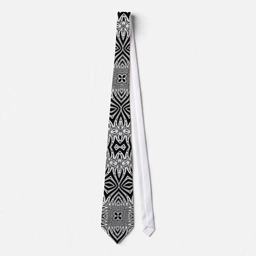 Tribalistic Black White Mens Fashion neck Tie