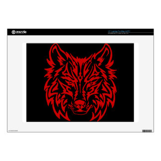 "TribalWolfRed 15"" Laptop Decal"