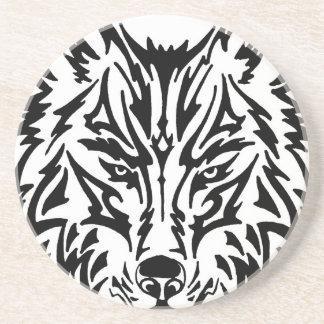 TribalWolfWhiteBackground Sandstone Coaster