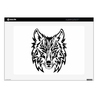"TribalWolfWhiteBackground Skin For 15"" Laptop"