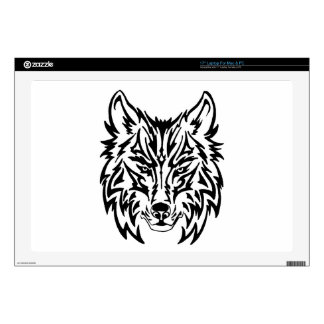 "TribalWolfWhiteBackground Skins For 17"" Laptops"