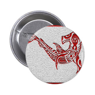 Tribe Shark Red Pinback Button