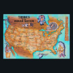 "Tribes of the Indian Nation Poster<br><div class=""desc"">This colorful native American poster shows the territories of the Indian Nations before European contact. This makes a great teaching aide or a conversation piece for your home or  office.</div>"