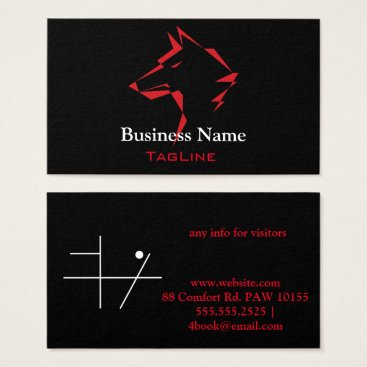 Lawyer Themed TribeWolf Red on Black Business Card