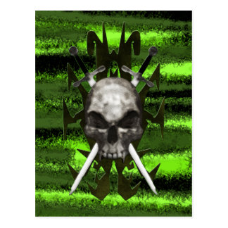 Trible Design Skull and Swords Post Card