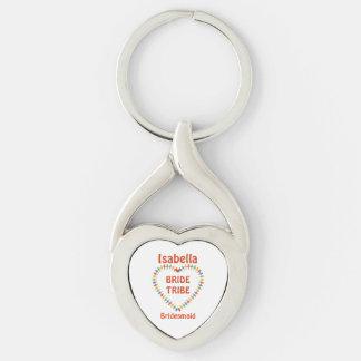 Tribu de la novia, personalizado de la dama de llavero plateado en forma de corazón