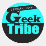 Tribu del friki de la tecnología de la biblioteca etiqueta redonda