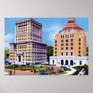 Tribunal y ayuntamiento de Asheville Carolina del  Poster