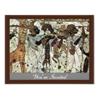 Tributbringende Africans By Maler Der Grabkammer D 4.25x5.5 Paper Invitation Card