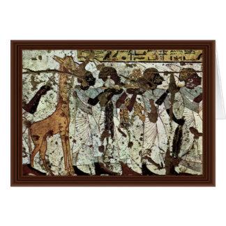 Tributbringende Africans By Maler Der Grabkammer D Greeting Card