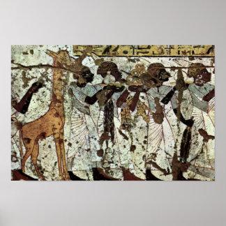 Tributbringende Africans By Maler Der Grabkammer D Poster