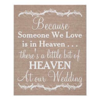 Tribute heaven loved ones burlap wedding sign