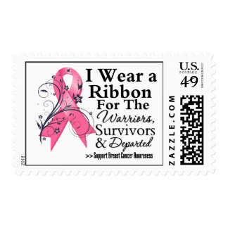 Tribute Pink Ribbon - Breast Cancer Postage Stamps