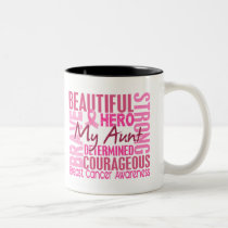 Tribute Square Aunt Breast Cancer Two-Tone Coffee Mug
