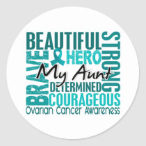 Tribute Square Aunt Ovarian Cancer Classic Round Sticker