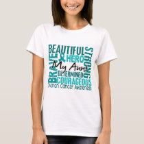 Tribute Square Aunt Ovarian Cancer T-Shirt