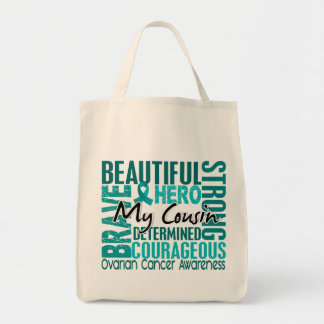 Tribute Square Cousin Ovarian Cancer Grocery Tote Bag